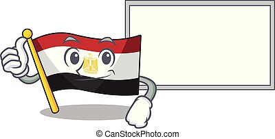 Thumbs up with board flag egypt mascot the character shape