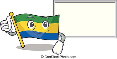 Thumbs up with board flag gabon with the cartoon shape