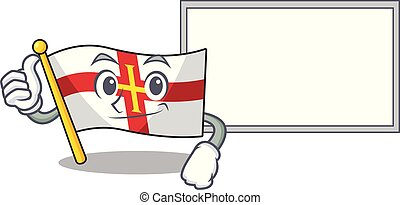 Thumbs up with board flag guernsey isolated in the mascot