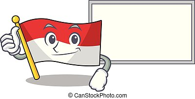 Thumbs up with board flag indonesia in the cartoon shape