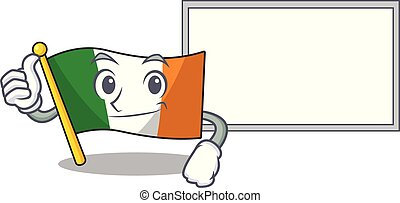 Thumbs up with board flag ireland isolated with the cartoon ...