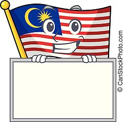 Thumbs up with board flag malaysia in the cartoon shape