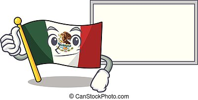 Thumbs up with board flag mexico in the cartoon shape