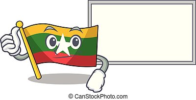 Thumbs up with board flag myanmar isolated in the mascot
