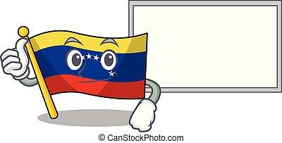 Thumbs up with board flag venezuela with the cartoon shape