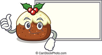 Thumbs up with board fruit cake character cartoon