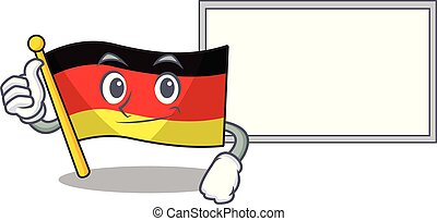 Thumbs up with board germany flag cartoon isolated the mascot