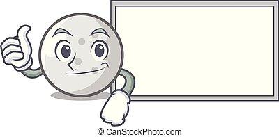 Thumbs up with board golf ball character cartoon