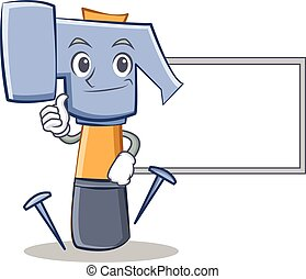 Thumbs up with board hammer character cartoon emoticon