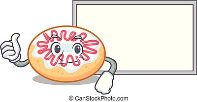 Thumbs up with board jelly donut character cartoon vector...
