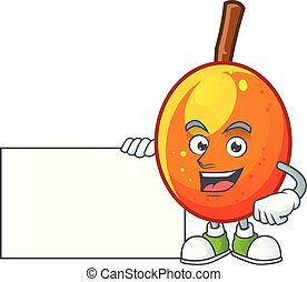Thumbs up with board jocote fruit with character cartoon mascot.