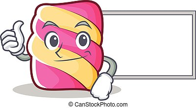 Thumbs up with board marshmallow character cartoon style