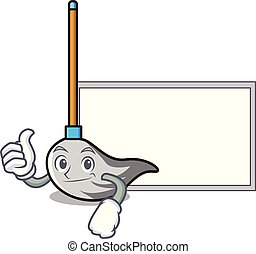 Thumbs up with board mop character cartoon style
