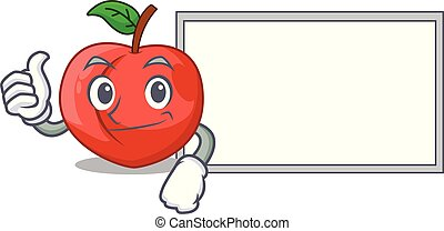 Thumbs up with board nectarine with leaf isolated on cartoon