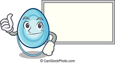 Thumbs up with board oxygen mask character cartoon