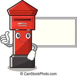 Thumbs up with board pillar box isolated with the cartoon