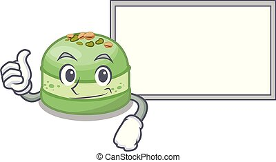 Thumbs up with board pistachios cake in the saucer cartoon