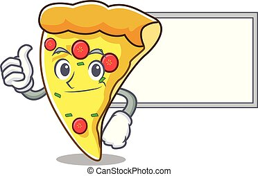 Thumbs up with board pizza slice character cartoon
