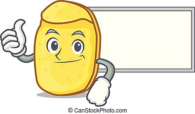 Thumbs up with board potato chips character cartoon
