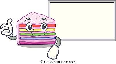 Thumbs up with board rainbow cake on plastic cartoon plate