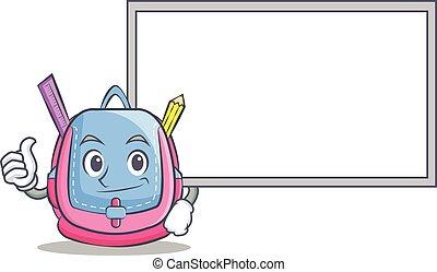 Thumbs up with board school bag character cartoon