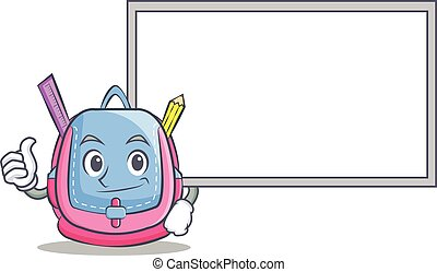 Thumbs up with board school bag character cartoon