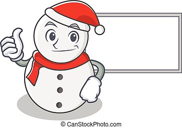 Thumbs up with board snowman character cartoon style