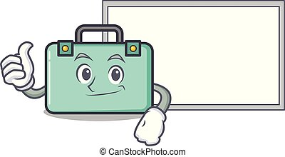 Thumbs up with board suitcase character cartoon style
