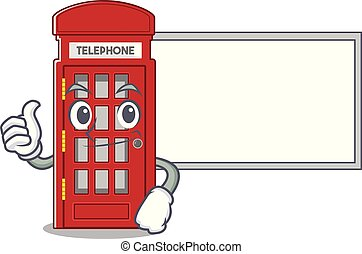 Thumbs up with board telephone booth character shape on mascot
