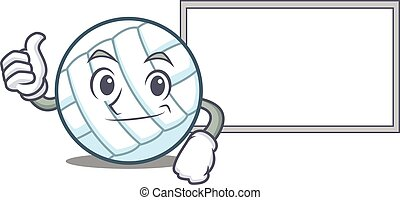Thumbs up with board volley ball character cartoon