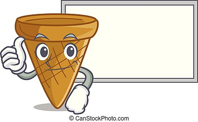 Thumbs up with board wafer cone character cartoon