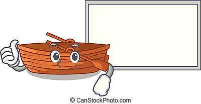 Thumbs up with board wooden boat in the cartoon shape