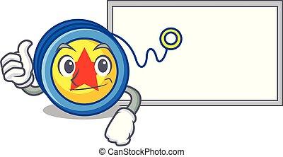 Thumbs up with board yoyo character cartoon style vector...