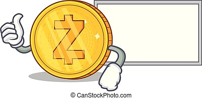Thumbs up with board Zcash coin character cartoon