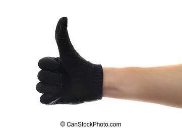 Black glove on a white hand with thumbs up isolated on white background.