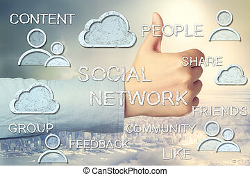 Thumbs Up with Social Media Concepts