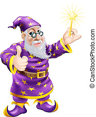 Thumbs up Wizard with Wand - A drawing of a cute friendly...