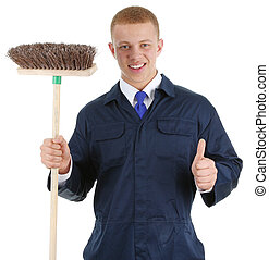 Thumbs up worker with broom