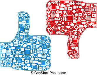 Thumbs Up/Down Symbols, vector eps10 illustration