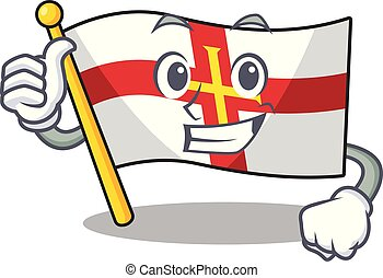 Thumbs up flag guernsey with the cartoon shape vector illustration