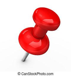 3d illustration of red thumbtack on white pinang.