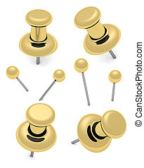 thumbtack and pins - Golden thumbtacks and pins isolated on...