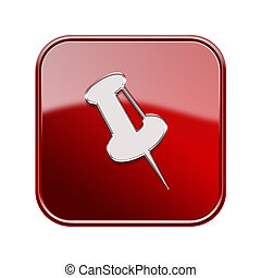thumbtack icon glossy red, isolated on white background.