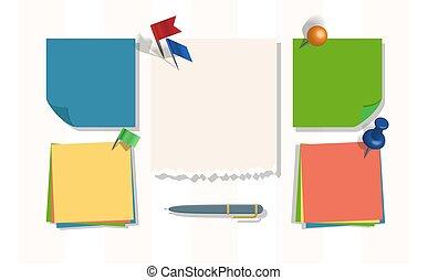 thumbtack, nootbook, bordeggiare, blocco note, perno, adesivi, messaggi, promemoria, su, illustrazione, o, nota, bandiera, vettore, asse, fondo, carte, fogli, memorandum, pagina, fondale