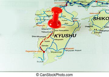 Thumbtack on the Japan map