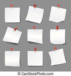 thumbtacks., em branco, ilustração, avisos, nota, empurrão, vetorial, papel, papeis, alfinetes, branco vermelho