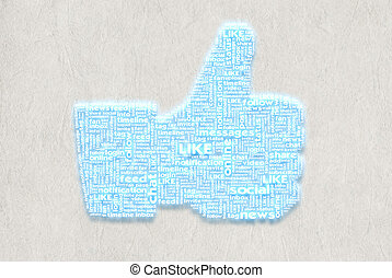 Thumbup symbol on the Paper texture background