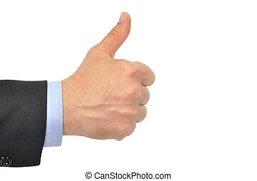Thump Up - Hand with thumb up isolated on white background