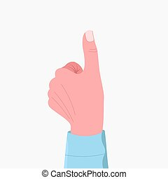 Thump up. Like hand sign. Human hand shows like gesture with...