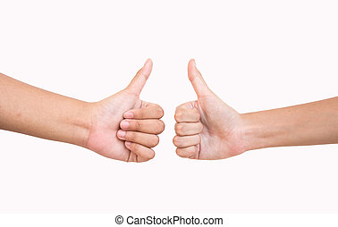 Thump up - thumps up on white background